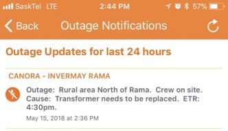 Power outage north of Rama