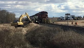 Train-semi collision closes rail crossings