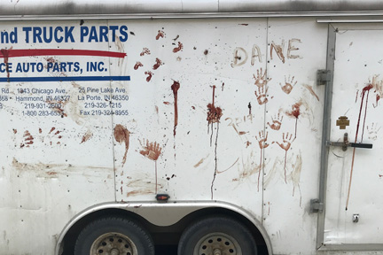 When a local citizen saw this blood stained trailer on Main Street, Wadena, he saw red and told the group of American hunters they were ruining it for ethical hunters.